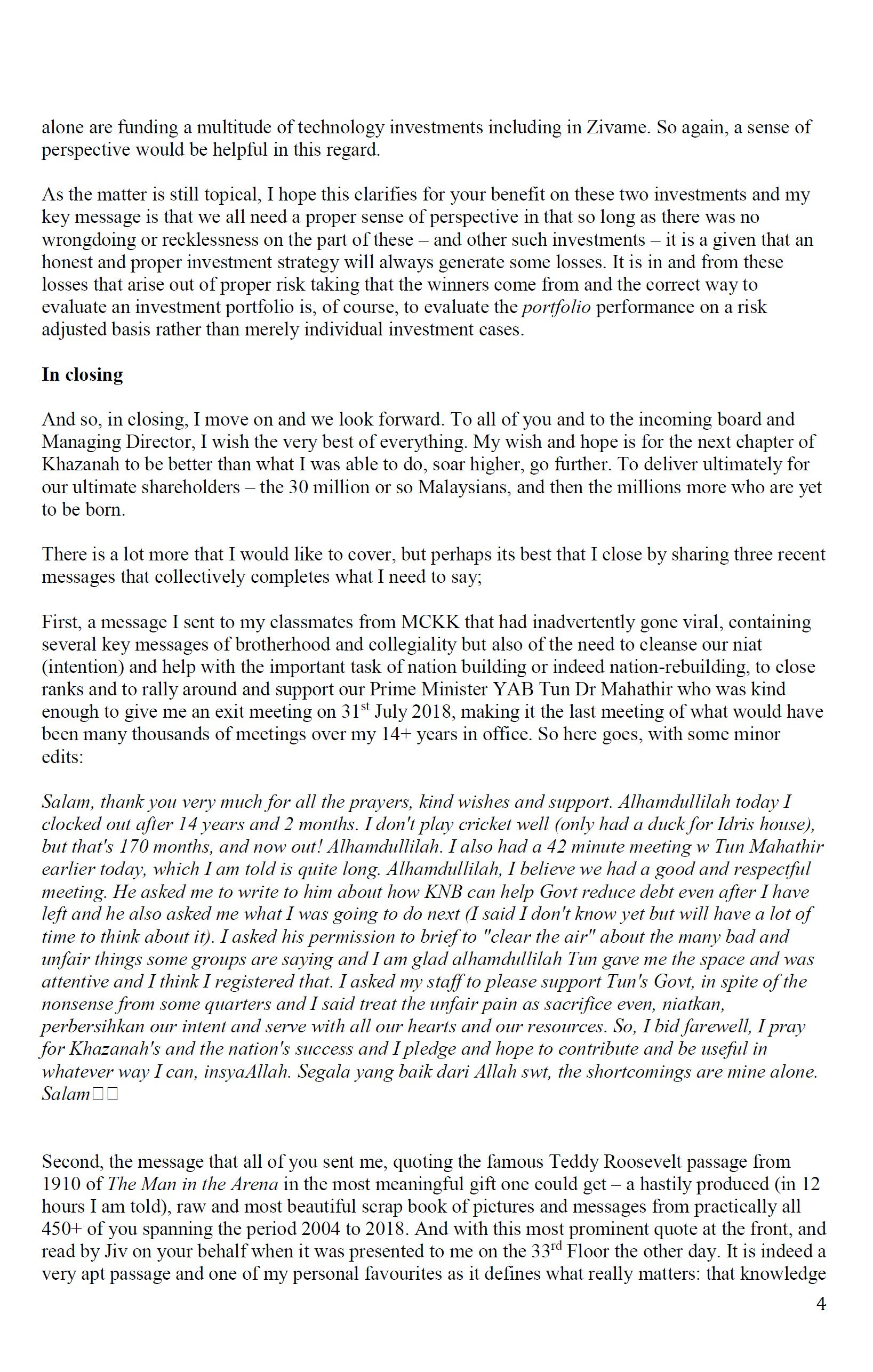 Farewell Letter To Employees from clips.thestar.com.my