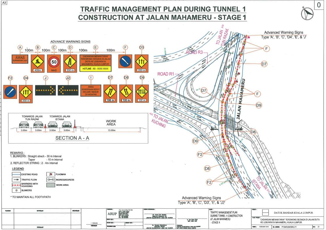 Traffic Management Plan : Section of tunnel along sultan iskandar highway closed for